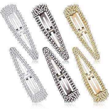 Fashion Crystal Rhinestone Hair Clips Bling Girls Hair Pins Metal Barrettes Hair
