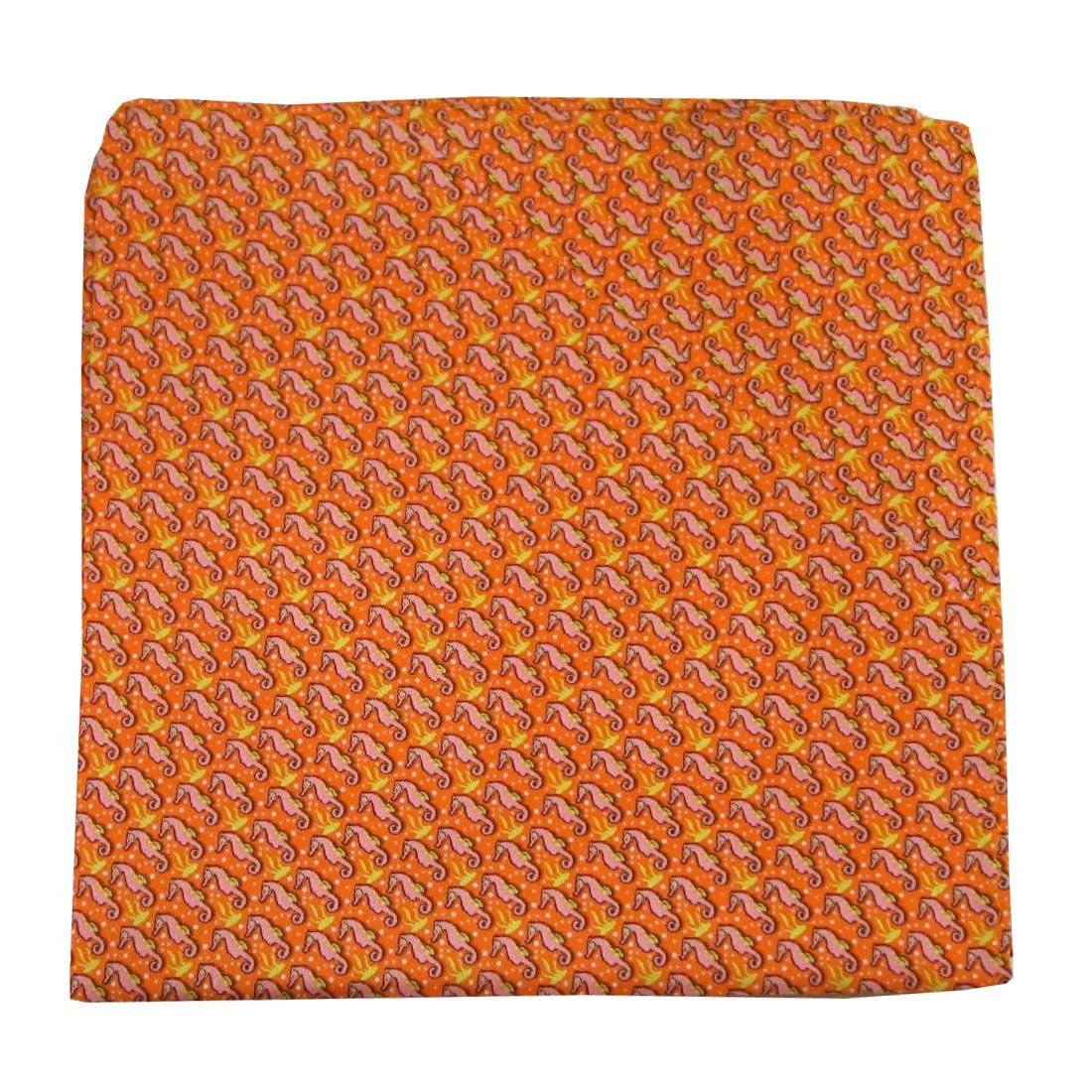 Orange Yellow Pink Seahorse Silk Pocket Square