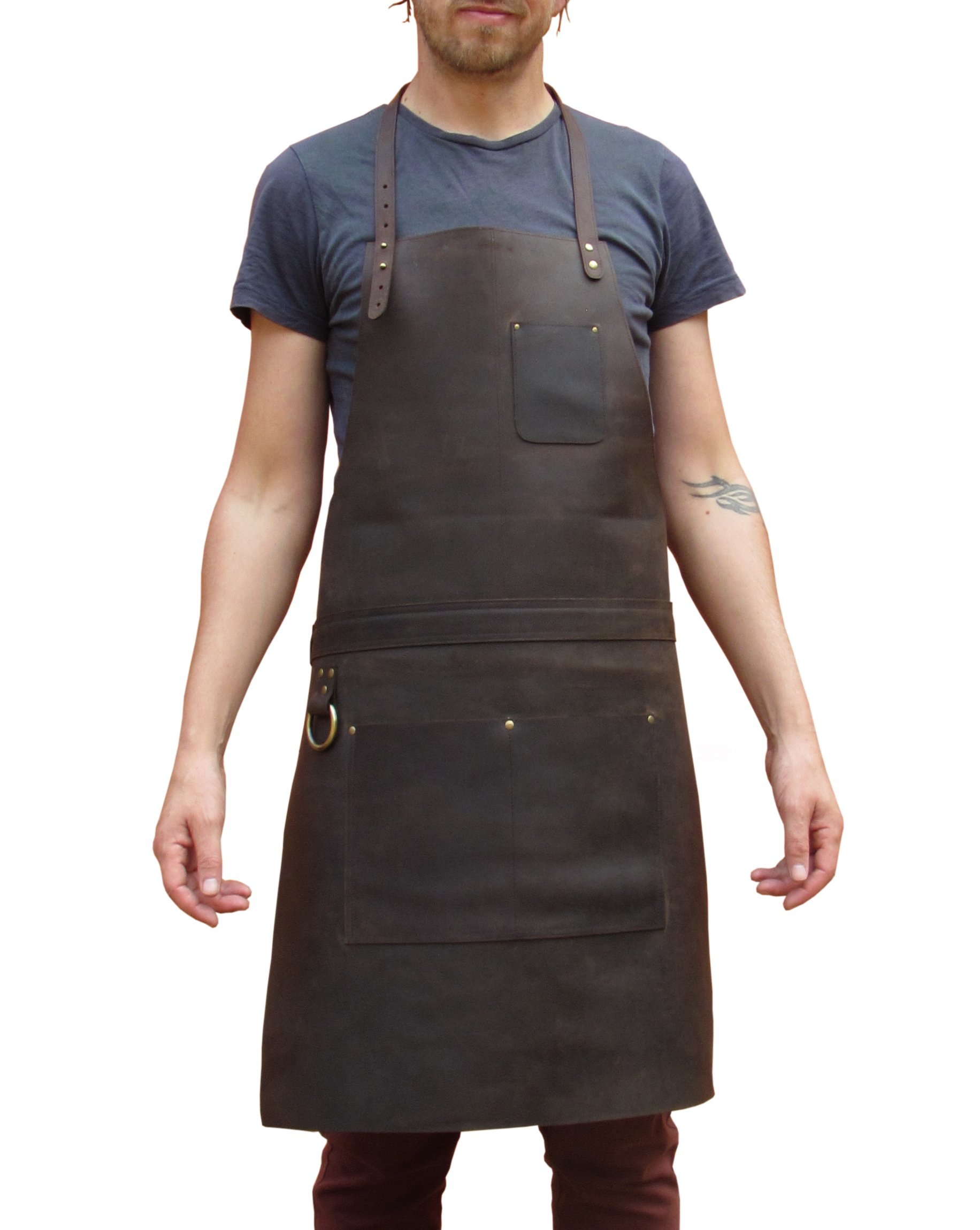 One Leaf Leather Work Apron (Chef, Butcher, Metalworker, Carpenter) - Tirel Deluxe (Brass Hardware)