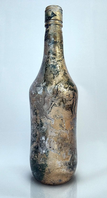 Botellas con suerte - Malibu Botella Decorativa Reciclada con Hidroimpresión Color Dorado y Verde - 27 cm