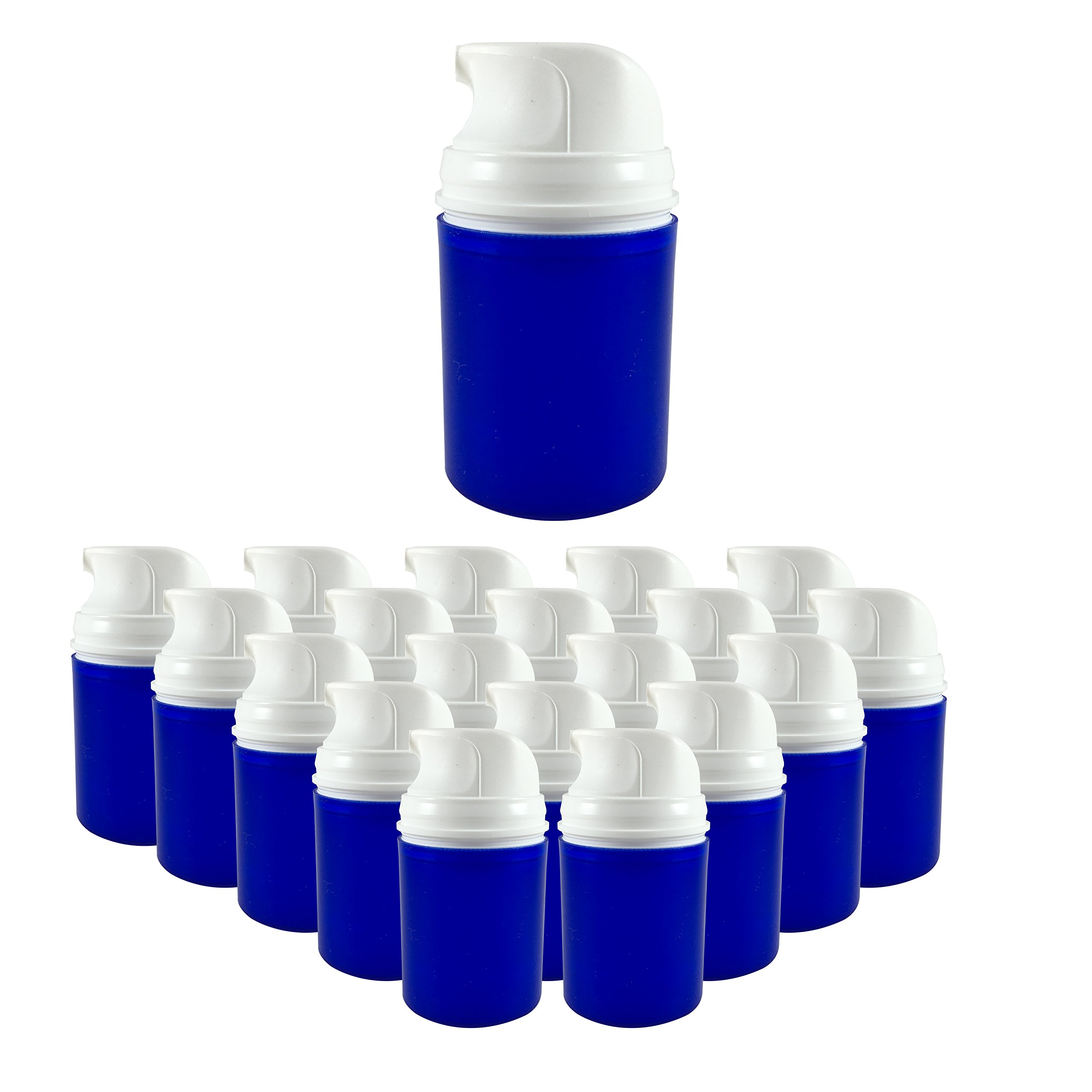 PharmaPump Airless Pump Bottles 50mL - 20 Pack - Blue Bottle With White Engine by PharmaPump