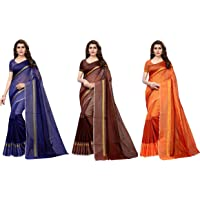 Anni Designer Cotton Saree with Blouse Piece (Pack of 3) (TS02 Blue Brown Orange_Multicolor_Free Size)