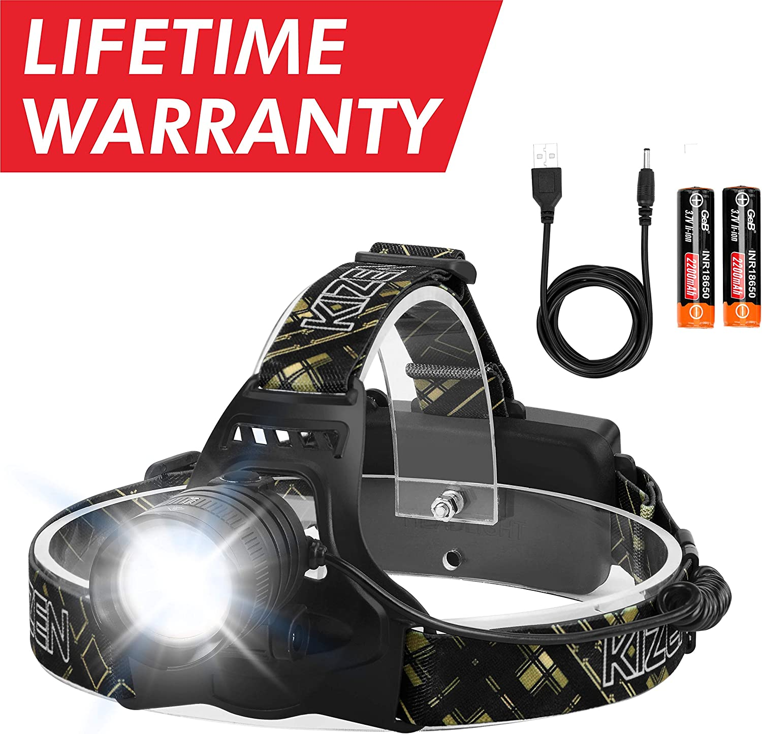 Kizen XHP-50 Headlamp. Next Generation LED Waterproof Headlight. Zoomable Work Light, 18650 USB Rechargeable Head Lights for Camping,Hiking, Outdoors