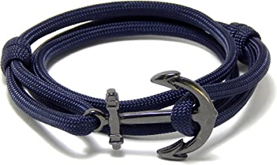 Sailor Bracelet Anchor Jewelry Nautical Jewellery Boating Surf 925 Sterling Silver Anchor Blue Marititime Cord Adjustable Unisex Bracelet