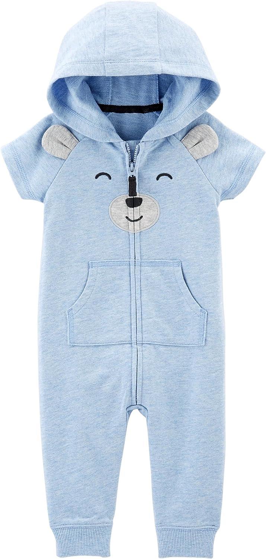 NEW Carter/'s Baby Boy 1 pc Fleece Romper Plaid Polar Bear Hooded Coverall