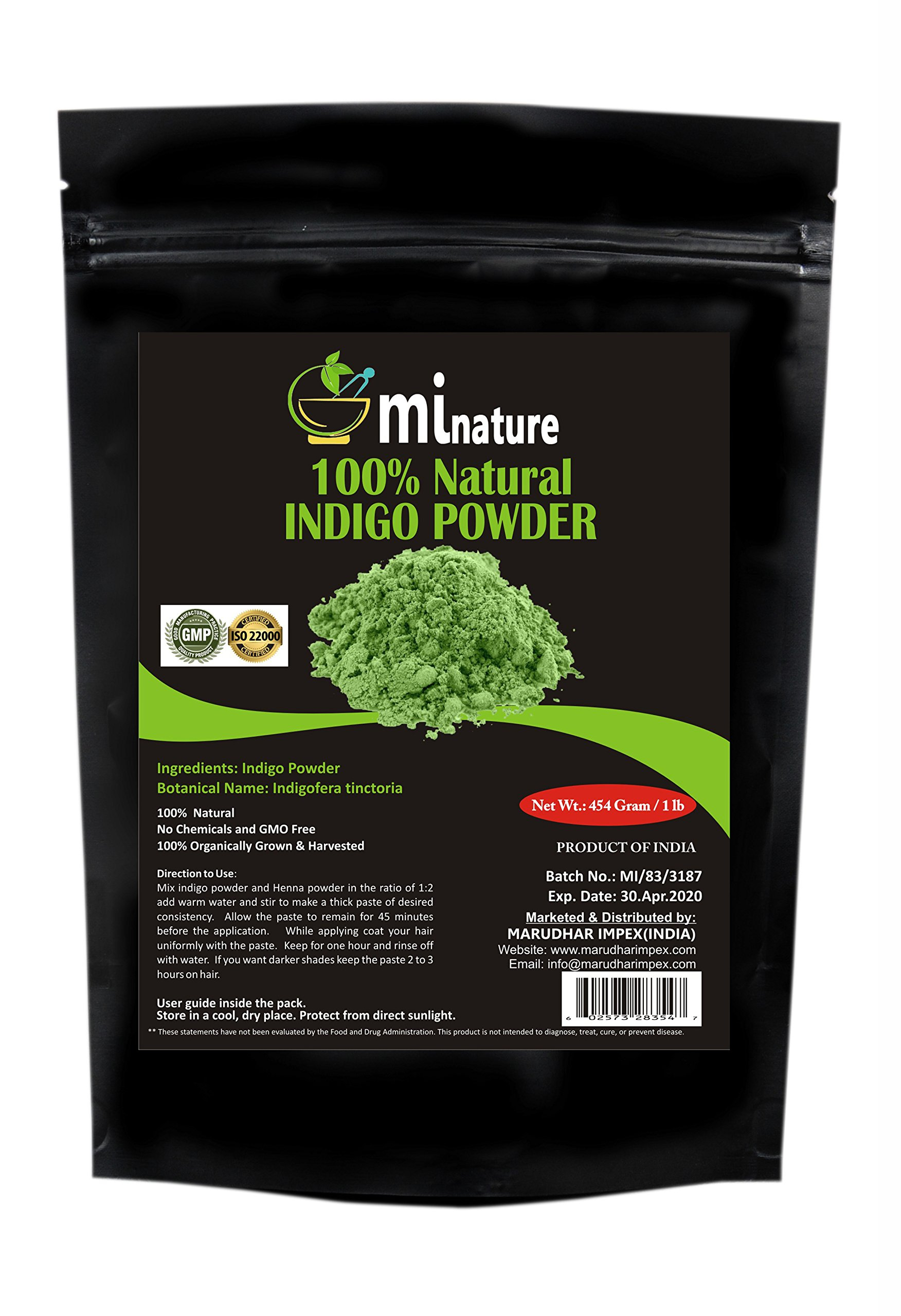 mi nature Indigo Powder -INDIGOFERA TINCTORIA,(100% NATURAL, ORGANICALLY GROWN) 1 LB (454 grams/16 ounces) RESEALABLE BAG