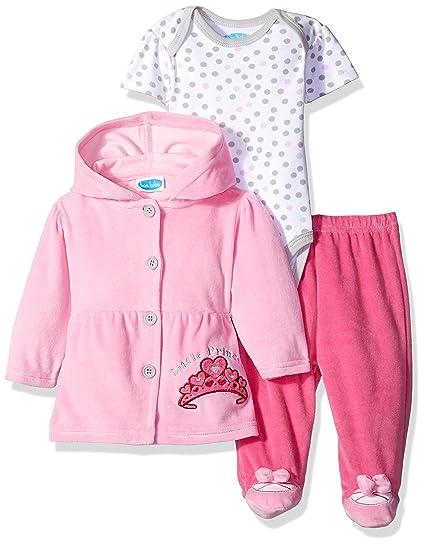 c4ceaac0c79 Amazon.com: BON BEBE Baby Girls' 3 Piece Set with Velour Jacket Pant and  Bodysuit: Clothing