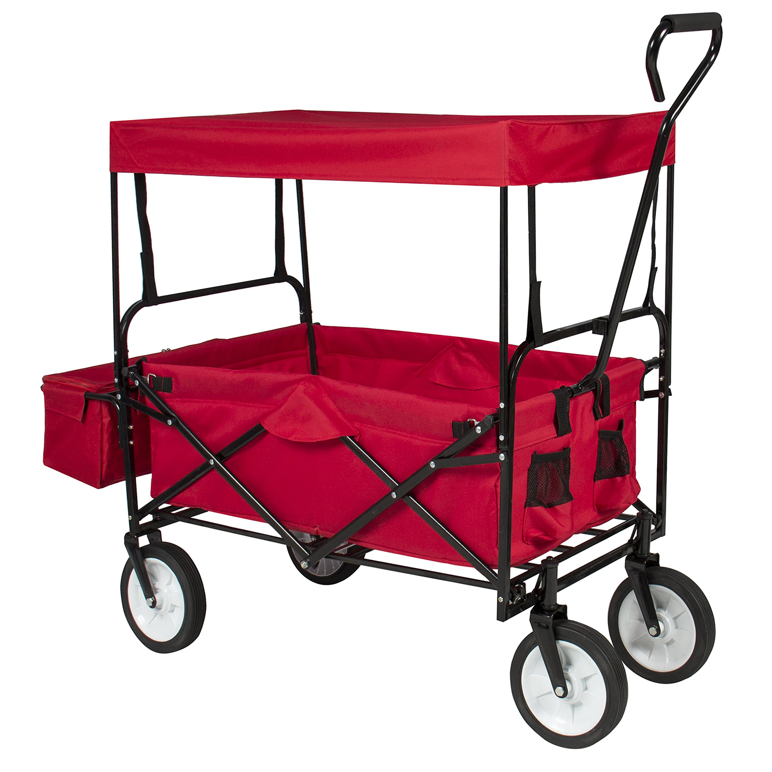 Best Choice Products Folding Utility Cargo Wagon Cart for Beach, Camping, Groceries w/ Removable Canopy, Cup Holders - Red by Best Choice Products