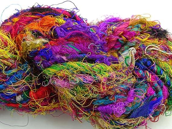 Recycled Pure Silk Yarn /'Ruby/' 10 metres  11 yards sample size 10m Mini Skein of Red mix Handspun Sari Silk Yarn Fluffy Chunky