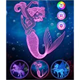 Mermaid Gifts for Girls Kids Toys - Stocking Stuffers Mermaid Night Light Remote 16 Colors Changing, Mermaid Decor 3D Bedside