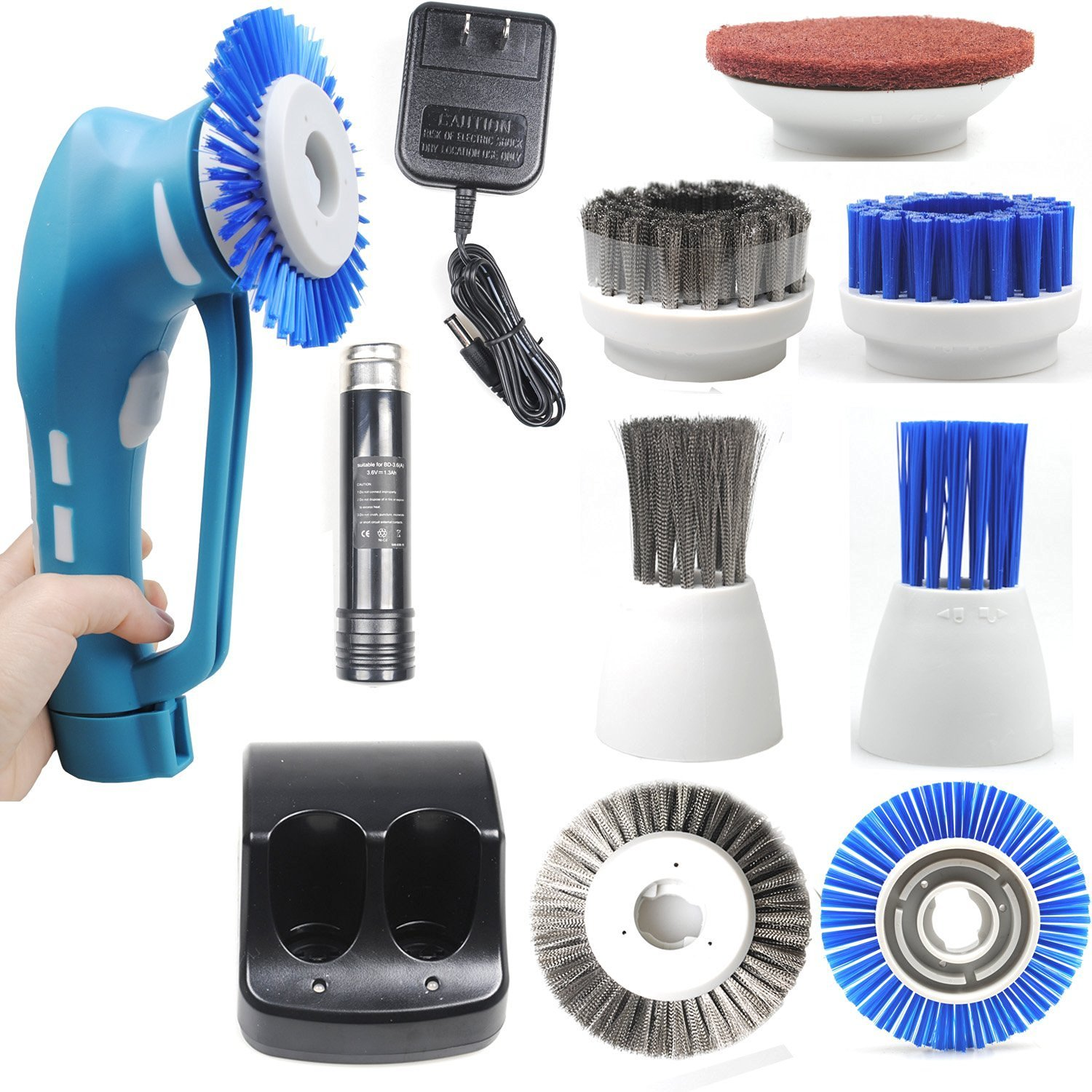 CUH Cordless Power Scrubber with Rechargeable Battery for Bathroom Kitchen 6 Brushes 1 Scouring Pad