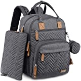 Diaper Bag Backpack, iniuniu Large Unisex Baby Bags for Boys Girls, WaterproofTravel Back Pack with Diaper Pouch, Washable C