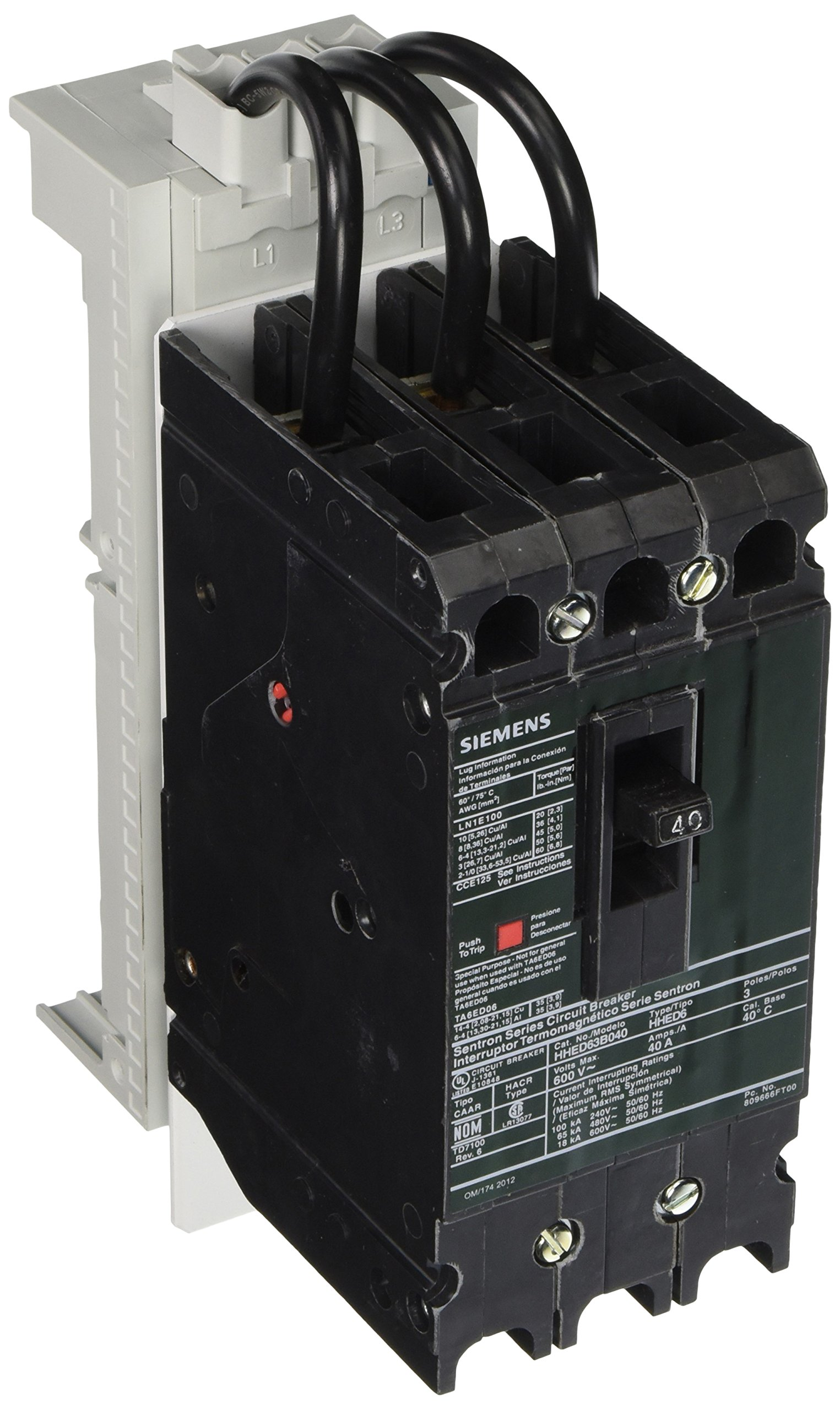 Siemens FBCB040H Fast Bus Busbar Circuit Breaker, High Interrupting, Feeder 3 Pole, Snap On Adapter Shoes, HHED Breaker Frame, 40A UL Current Rating, 65kA UL Short Circuit Current Rating On 480V