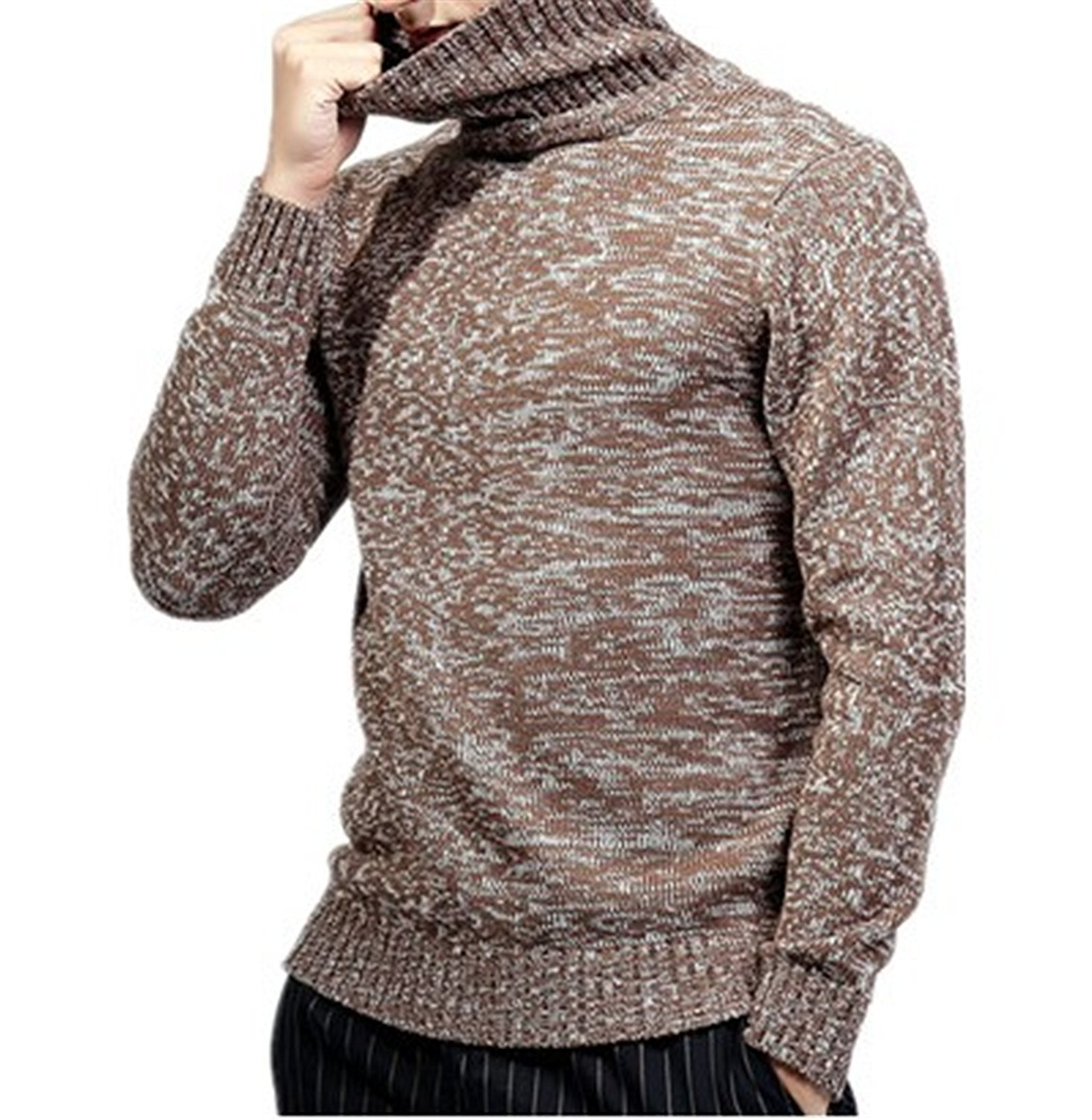LOKOUO cotton winter knitted sweater knitshirt Men's turtleneck pullover sweater sueter hombre jaqueta masculino BrownX-Large