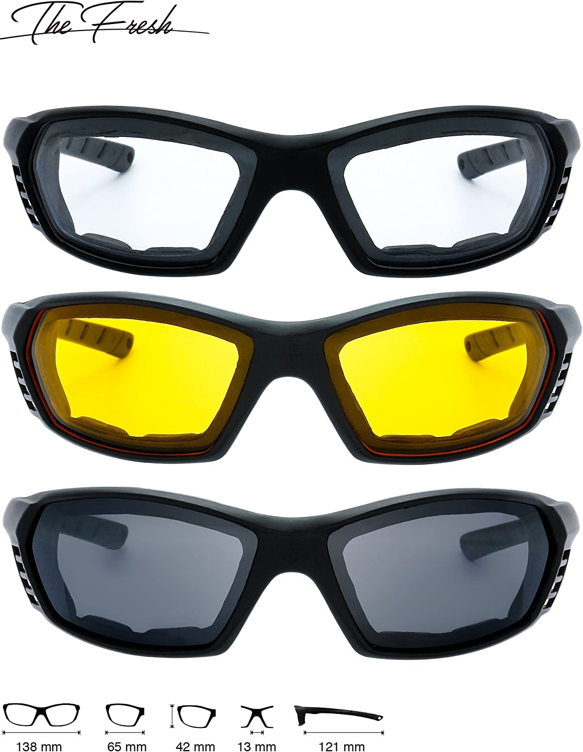 Motorcycle Riding Glasses Padded Frame Lens Block 100/% UVB for Outdoor Activity Sport