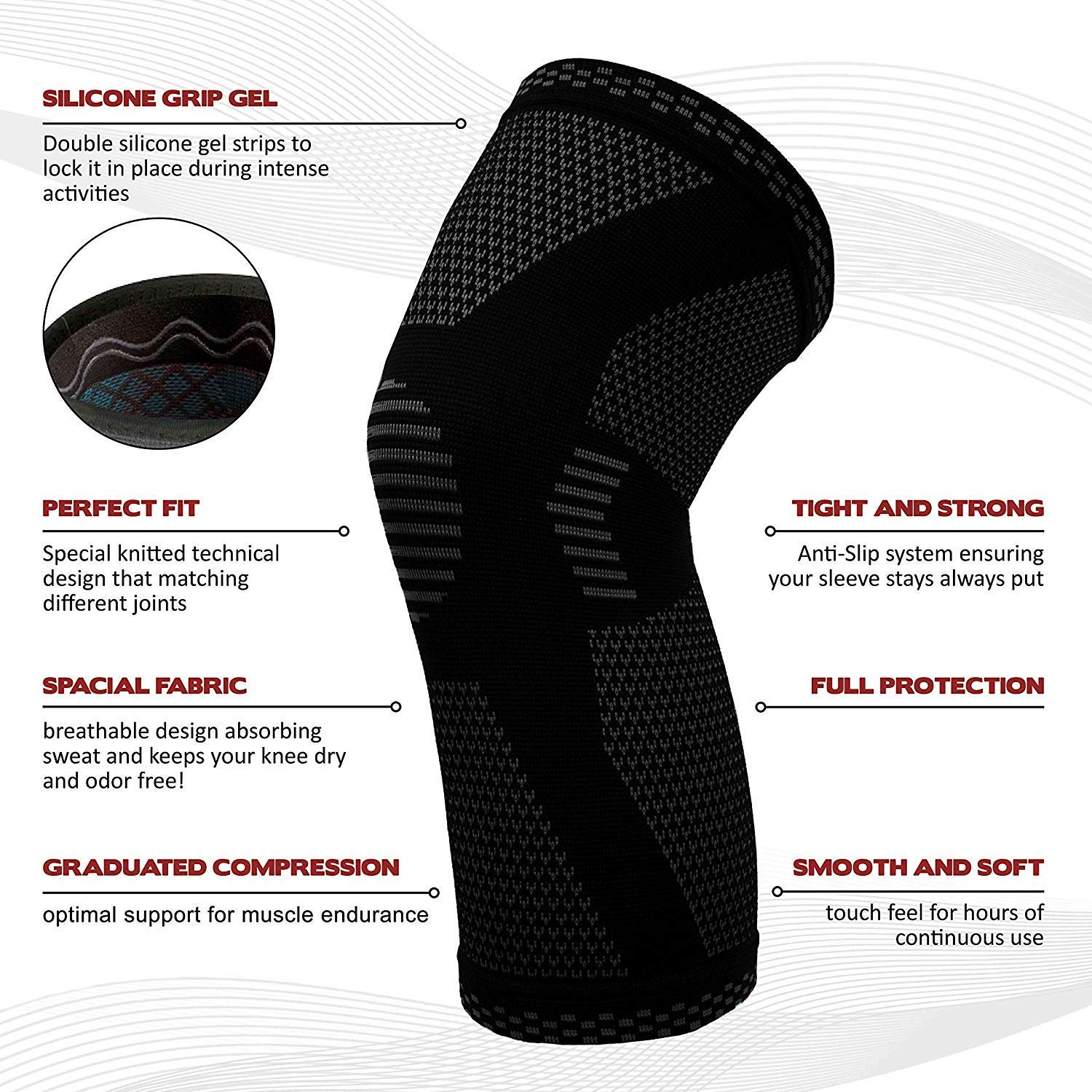 Workout Gym Basketball Sports Knee Support for Running Please Check Sizing Chart POWERLIX Compression Knee Sleeve Best Knee Brace for Men /& Women Weightlifting