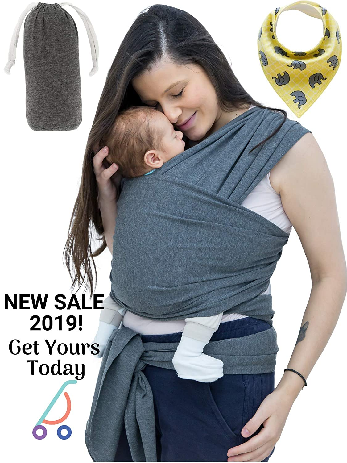 Baby Wrap Carrier, Unisex Baby Sling, Ergonomic Infant to Toddler Carrier with Pouch and Bib