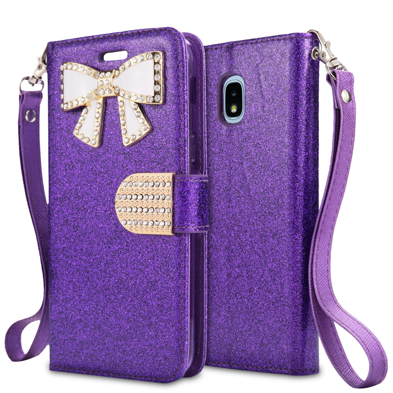 For Samsung Galaxy J3 (2018), J3 Achieve, J3 Star, Express Prime3, Amp Prime3, J3/J3V 3rd Gen SM-J337 Case,PU Leather Rhinestone Wallet Flip Phone Protective Case with Card Slots (WBL Purple)