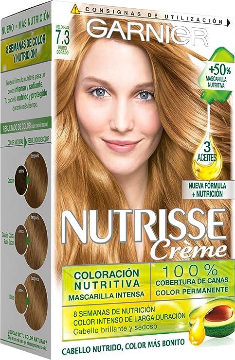 Garnier Nutrisse Creme Coloración permanente con mascarilla nutritiva de cuatro aceites - Tono: Rubio Dorado 7.3: Amazon.es: Belleza
