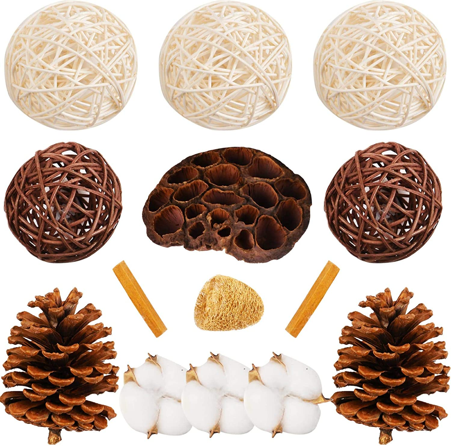 Decorative Balls for Bowls Decorations Set - Vase Fillers 3 White Rattan Balls 2 Brown Rope Woven Balls Cotton Flowers Pine Cones Loofah Sponge Lotus Flower Sandalwood for Wedding Centerpieces Kitchen
