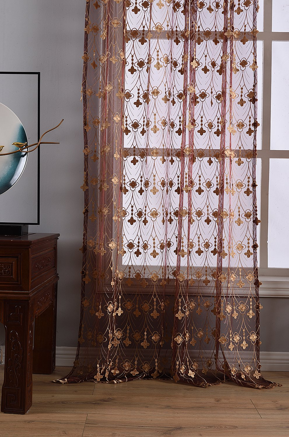 Aside Bside 4 Petals Floral Embroidered Sheer Curtains with Draping Embroidery Decorations Rod Pocket Top Brilliant Design (1 Panel, W 52 x L 104 inch, Red 6) -1281638521048506C1PGC by Aside Bside (Image #7)