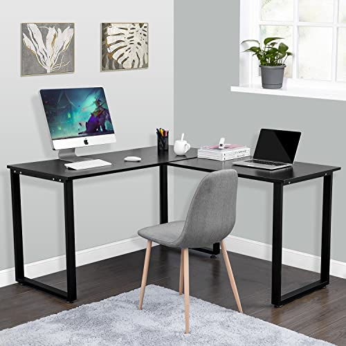 Goujxcy L Shaped Home Office Computer Desk Corner Desk Computer Workstation Large PC Laptop Table Study Table Gaming Desk