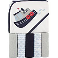 Luvable Friends Hooded Towel and 5 Washcloths, Tugboat