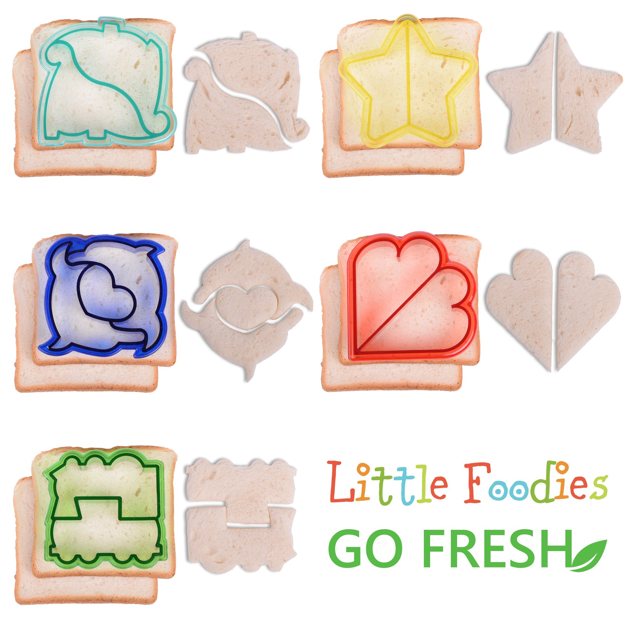 [20-Piece Set] Sandwich Cutters for Kids - 5 Sandwich Cutter Shapes, 5 Vegetable Cutters and FREE 10 Bento Decorations by GO FRESH (Image #2)