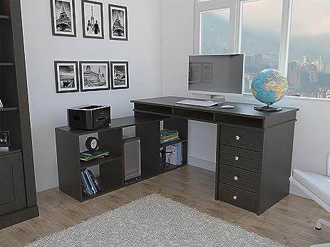 Houston L Shaped Corner Desk With Four Doors, Classic Design Espresso    Wengue