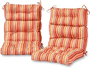 Greendale Home Fashions AZ6809S2-WATERMELON Coral Outdoor High Back Chair Cushion (Set of 2)