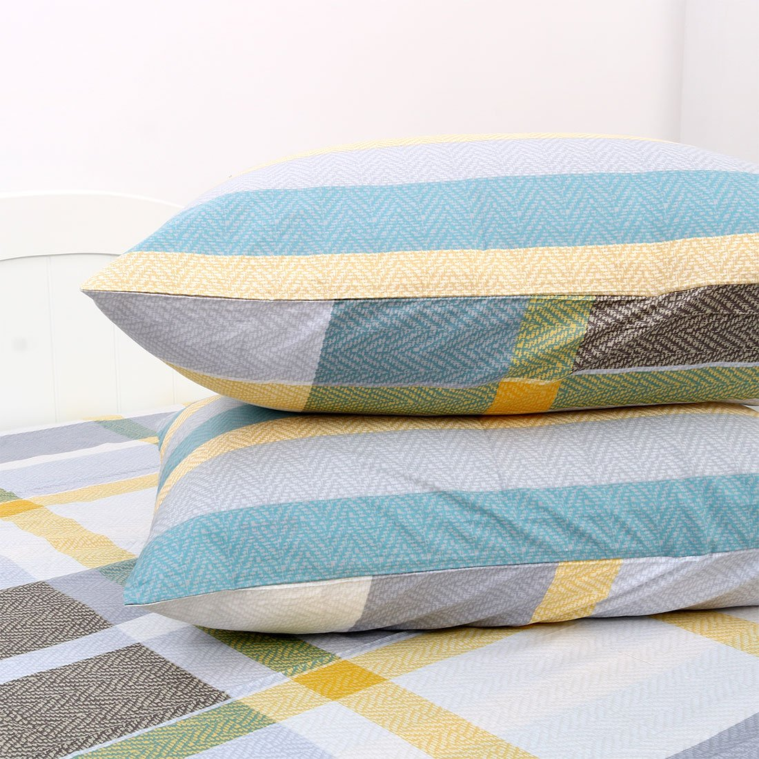 Uxcell Bed Sheets Set,100% Cotton 4 Piece Checkered Bedding Sets Fitted  Sheet Flat Sheet ...