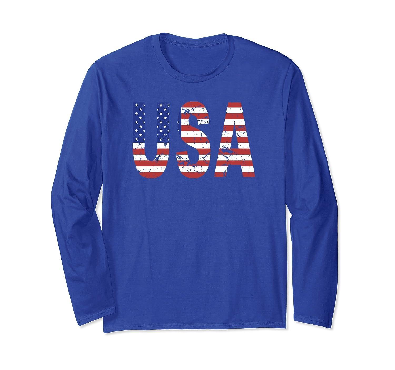 American Flag T shirt   Distressed Novelty   Long Sleeve-ln