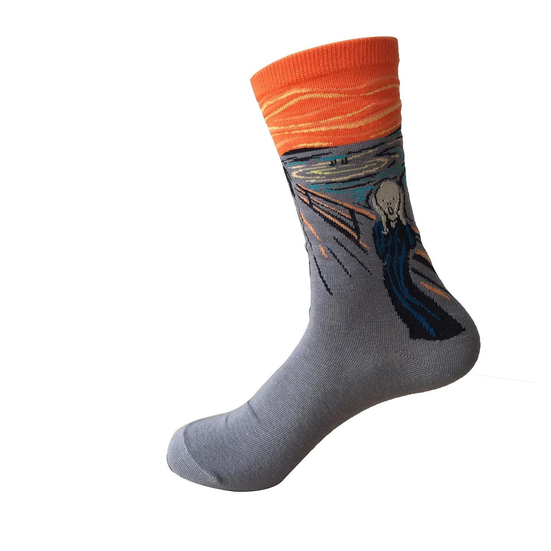 Men&Women's Famous Artwork Print Crew Socks One Size (4 Pair Mix)