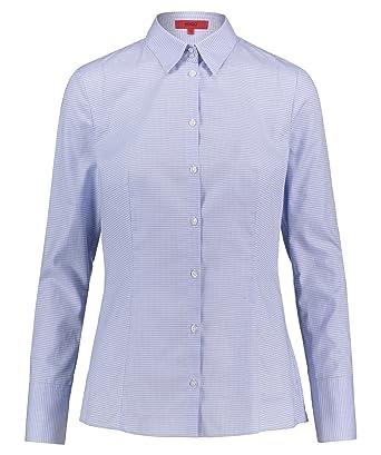 491cc2c90f2a BOSS Hugo Langarm Bluse ETRIXE Hemdkragen Muster weiß Mittelblau   Amazon.de  Bekleidung
