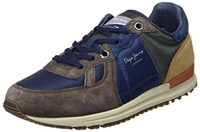 1f00408e229 Pepe Jeans London Men's Tinker Pro-Camp Low-Top Sneakers, Brown (Stag