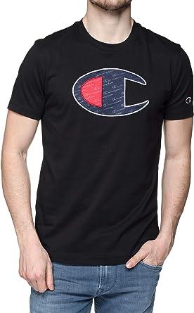 Champion, Hombre Crewneck Camiseta, Algodón, Camiseta, Negro: Amazon.es: Ropa y accesorios