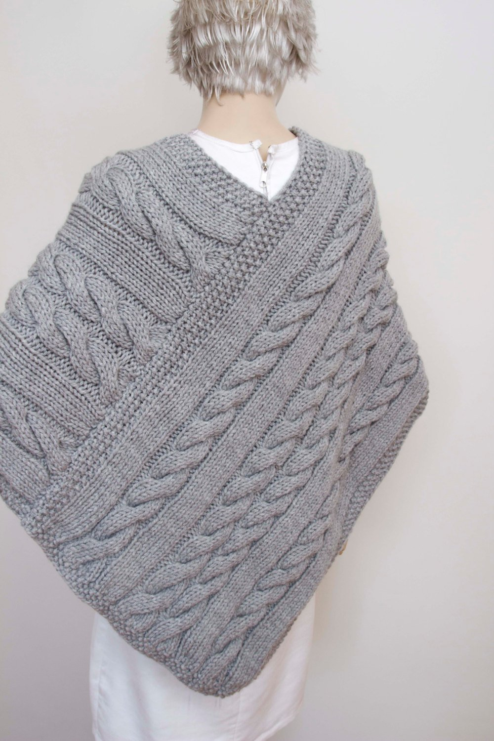 Knitted Poncho Cabled Poncho Chunky Knit Poncho Large Shawl