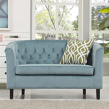 Modway Prospect Velvet Upholstered Contemporary Modern Loveseat In Sea Blue