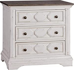 Coaster Home Furnishings Celeste 3-Drawer Rustic Latte and Vintage White Nightstand