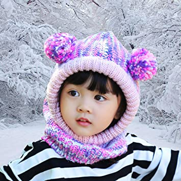 62a6a364c09 Little Girls Balaclava FUYAO Toddler Kids Winter Fleece Warm Crochet ...