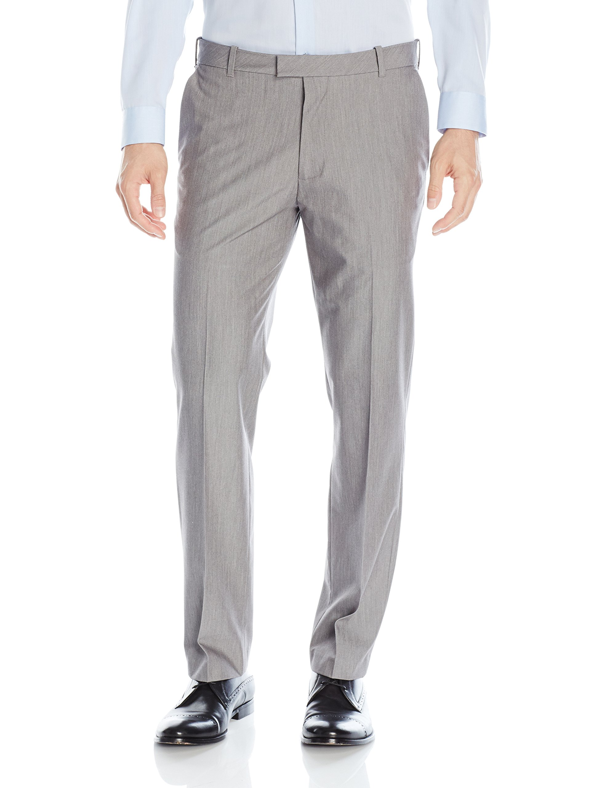 Van Heusen Men's Flex Straight Fit Flat Front Pant, Silver Grey, 33W x 30L