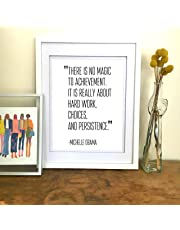 Michelle Obama Quote Print Obama poster framed Office Decor for Women Inspirational Wall Art Inspirational Quote Office Wall Art Gifts for Her