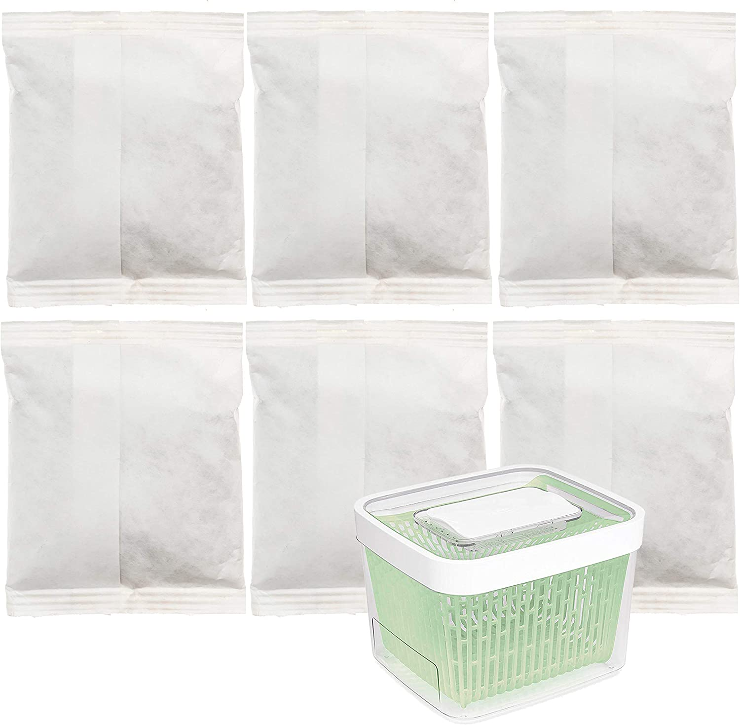 Impresa 6 Pack Greensaver Produce Preserver Filter Refills Compatible With OXO Greensaver - 11145300 Fully Breathable Paper Sachet - Made in The USA (20g Per Sachet)