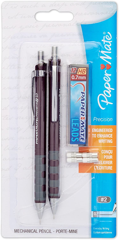 Paper Mate PRECISION Mechanical Pencil 2-Carded 0.7mm 1750542 Mechanical Pencil Starter Set Burgundy Barrel