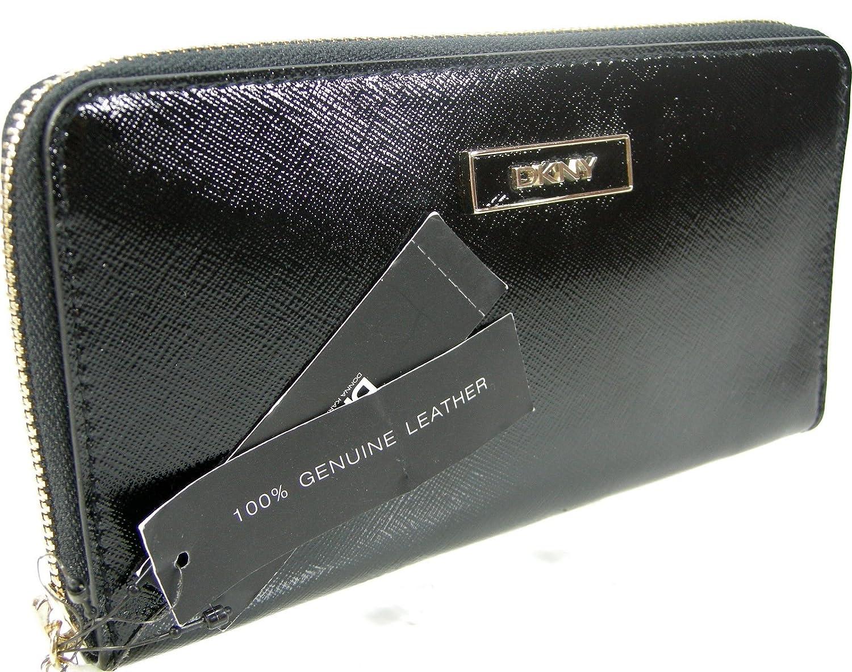 DKNY Donna Karen Zip Around Wallet Purse Hand Bag Shiny Saffiano Leather