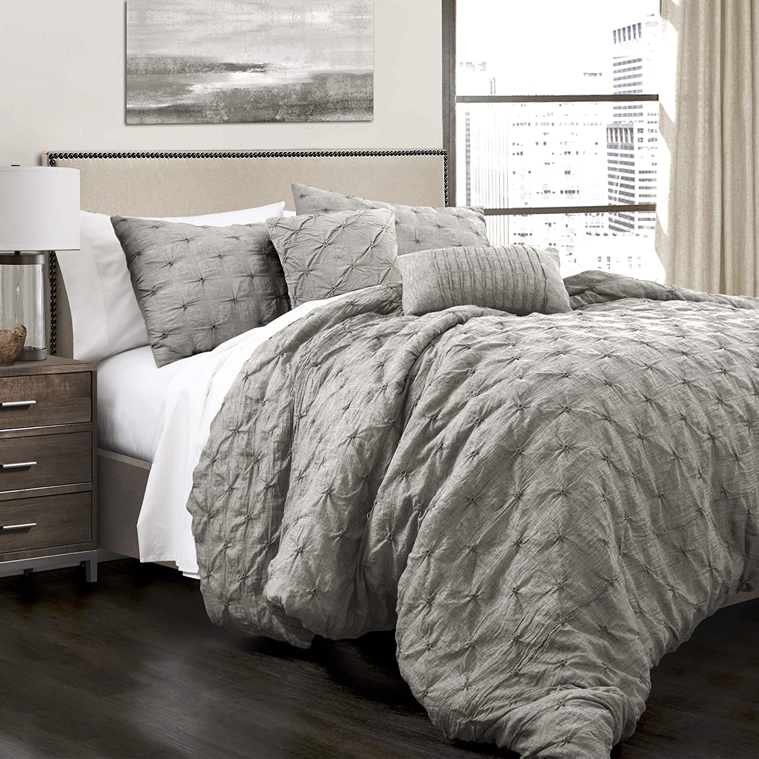 Lush Decor Ravello Comforter Shabby Chic Style Pintuck 5 Piece Bedding Set with Pillow Shams King Gray