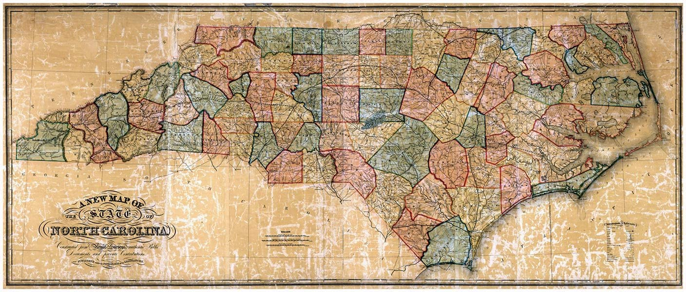 Antiguos Maps - Map of North Carolina by The W Williams Map Engraving Company Circa 1854 - Measures 24 in x 60 in (610 mm x 1524 mm)