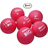 Pure Origins Motivational Stress Balls | Squeeze Toy Gift 6 Pack | Fidget Accessory for Stress Relief, Special Needs, Concentration, Anxiety, Motivation, ADHD, ADD, Autism and Team Building (Coral)