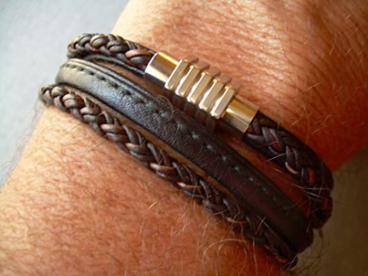 Handmade Double Wrap Mens Leather Bracelet with Stainless Steel Magnetic Clasp,Leather Bracelet,Mens Gift,Mens Bracelet,Mens Jewelry,Gift for him,