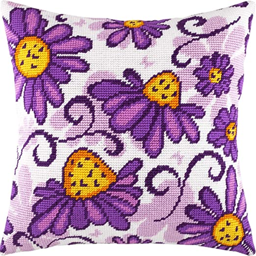European Quality Throw Pillow 16/×16 Inches Needlepoint Kit Echinacea Printed Tapestry Canvas